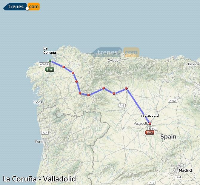 Ampliar mapa Comboios La Coruña Valladolid