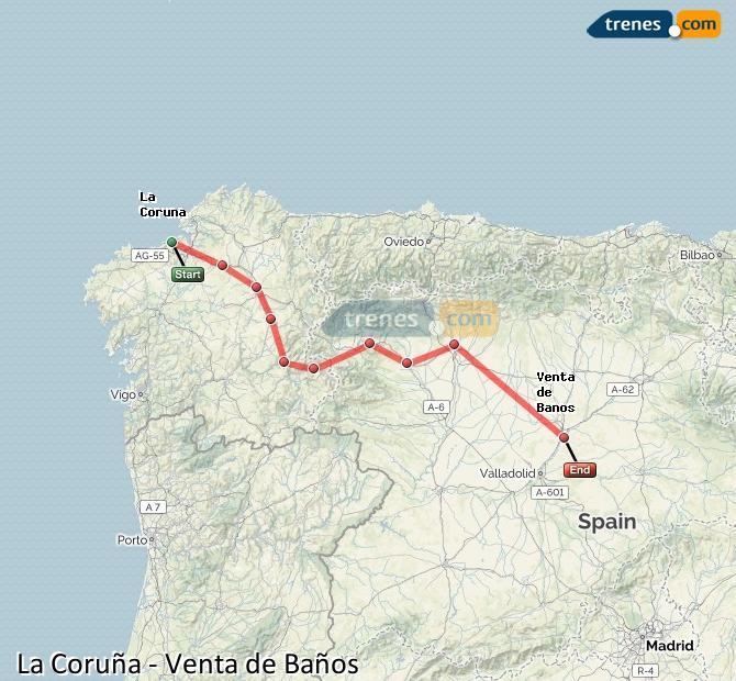 Agrandir la carte Trains La Coruña Venta de Baños