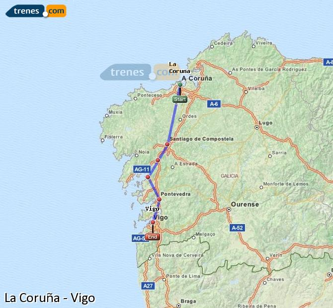 Cheap La Corua to Vigo trains tickets from 920 Trenescom