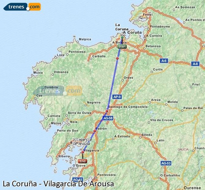 Ampliar mapa Trenes La Coruña Vilagarcía De Arousa
