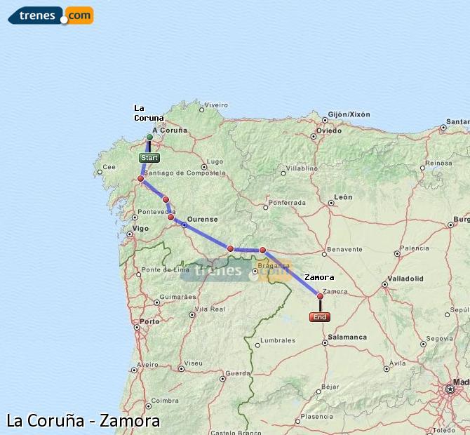 Ampliar mapa Trenes La Coruña Zamora