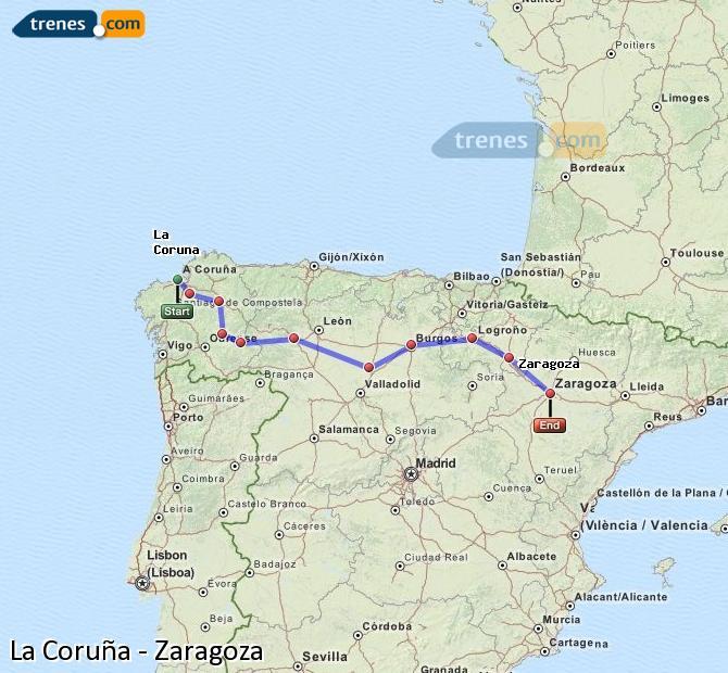 Ampliar mapa Comboios La Coruña Zaragoza
