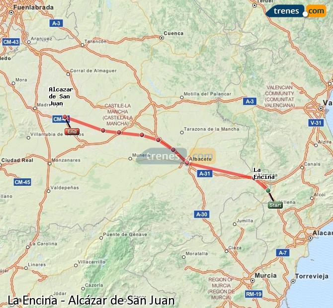 Ingrandisci la mappa Treni La Encina Alcázar de San Juan