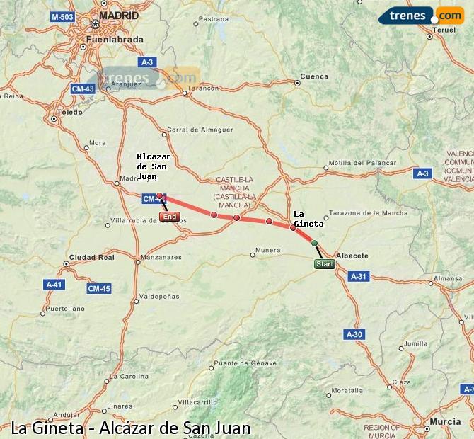 Ingrandisci la mappa Treni La Gineta Alcázar de San Juan