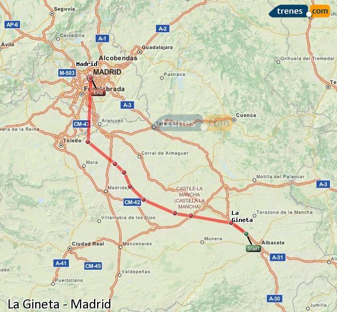 Ingrandisci la mappa Treni La Gineta Madrid
