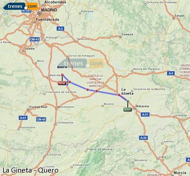 Ingrandisci la mappa Treni La Gineta Quero
