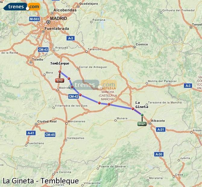 Enlarge map Trains La Gineta to Tembleque