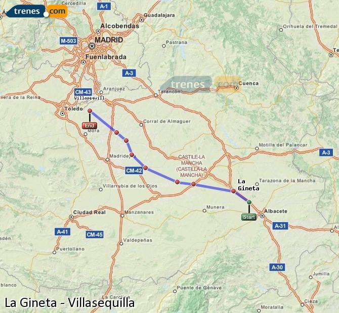 Agrandir la carte Trains La Gineta Villasequilla
