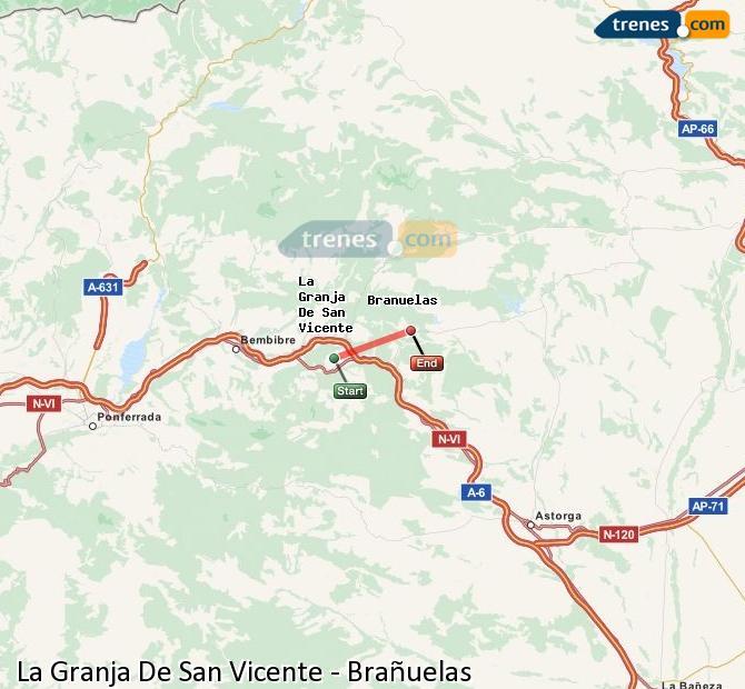 Enlarge map Trains La Granja De San Vicente to Brañuelas