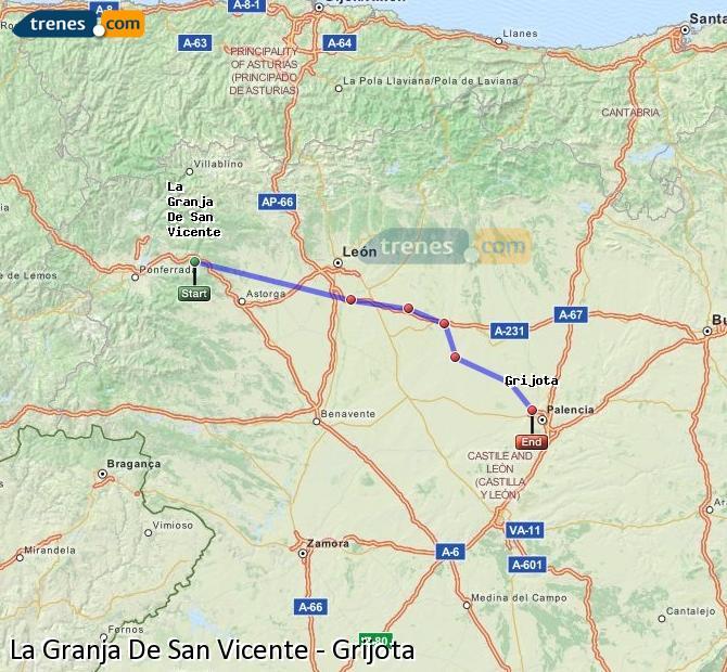 Ingrandisci la mappa Treni La Granja De San Vicente Grijota
