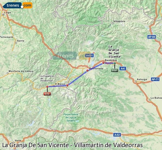 Karte vergrößern Züge La Granja De San Vicente Villamartín de Valdeorras