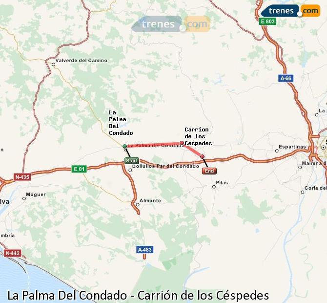Ampliar mapa Trenes La Palma Del Condado Carrión de los Céspedes