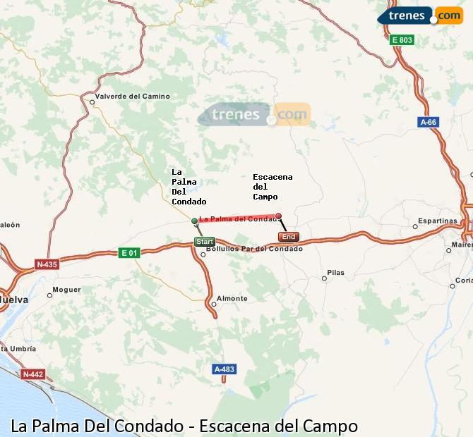 Agrandir la carte Trains La Palma Del Condado Escacena del Campo