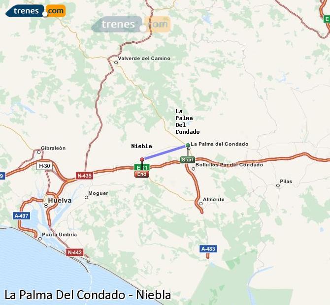 Agrandir la carte Trains La Palma Del Condado Niebla