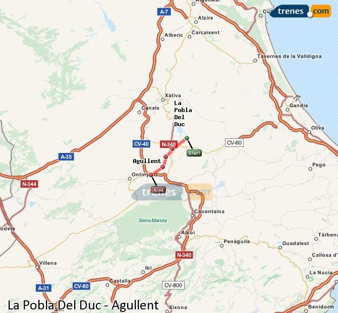 Enlarge map Trains La Pobla Del Duc to Agullent