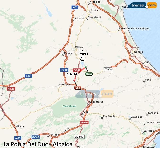Enlarge map Trains La Pobla Del Duc to Albaida