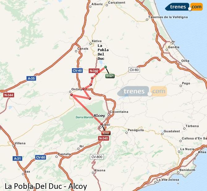 Ampliar mapa Trenes La Pobla Del Duc Alcoy