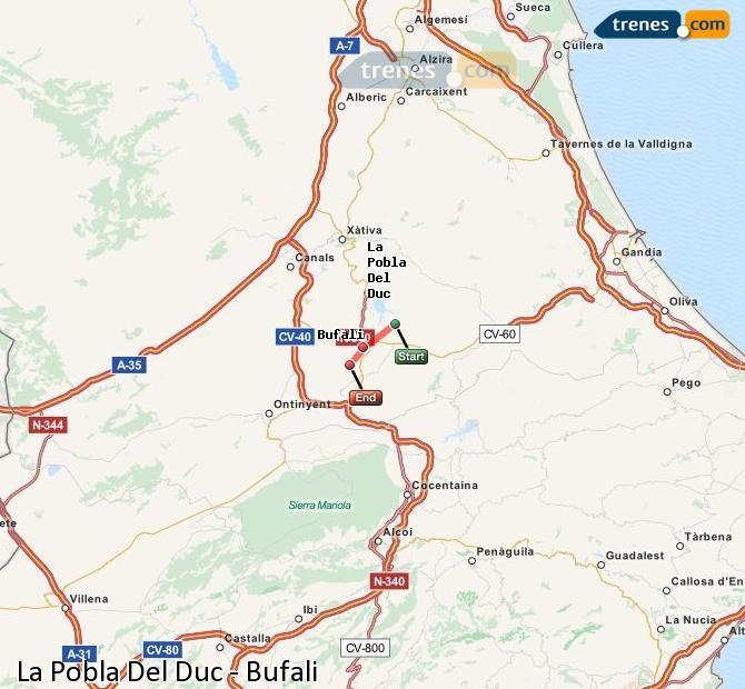 Ingrandisci la mappa Treni La Pobla Del Duc Bufali