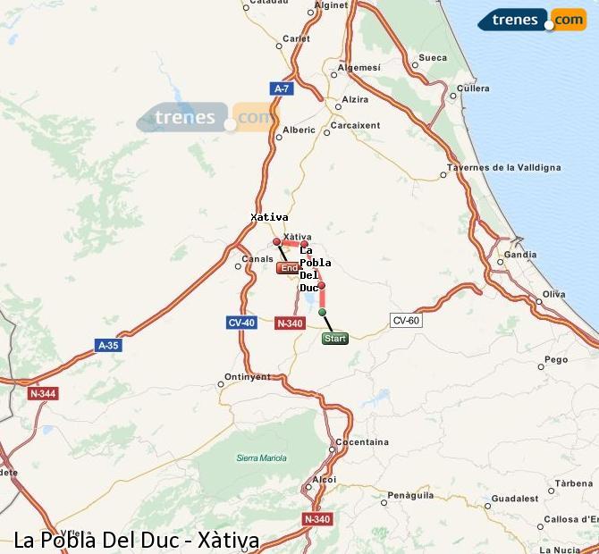 Ingrandisci la mappa Treni La Pobla Del Duc Xàtiva