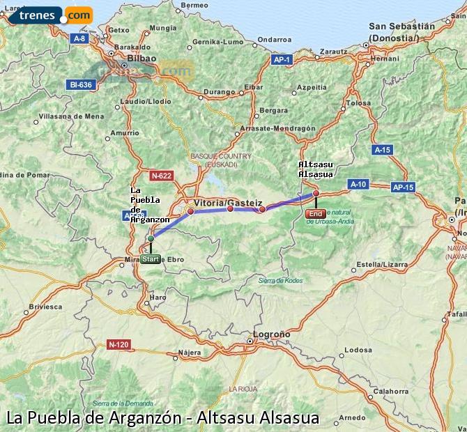 Agrandir la carte Trains La Puebla de Arganzón Altsasu Alsasua