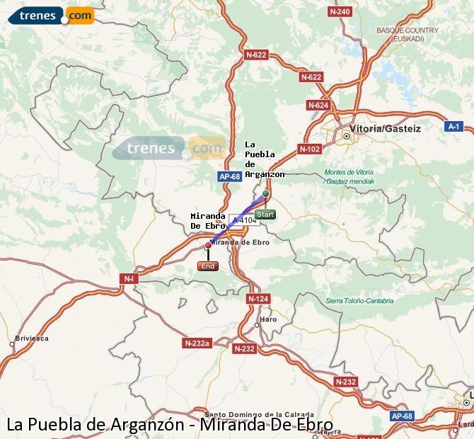 Karte vergrößern Züge La Puebla de Arganzón Miranda De Ebro