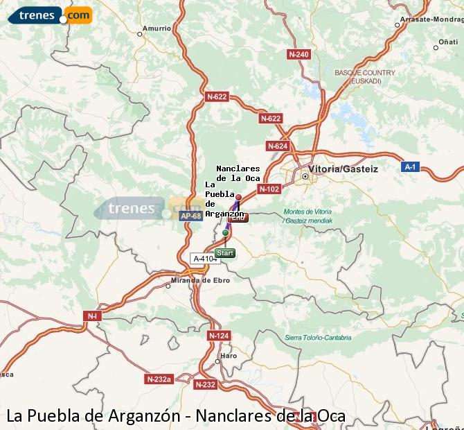 Enlarge map Trains La Puebla de Arganzón to Nanclares de la Oca