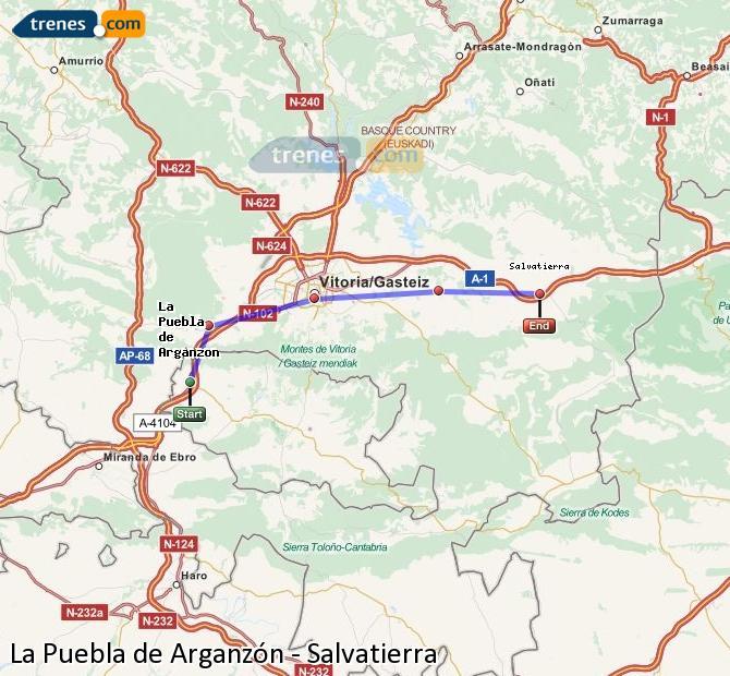 Enlarge map Trains La Puebla de Arganzón to Salvatierra