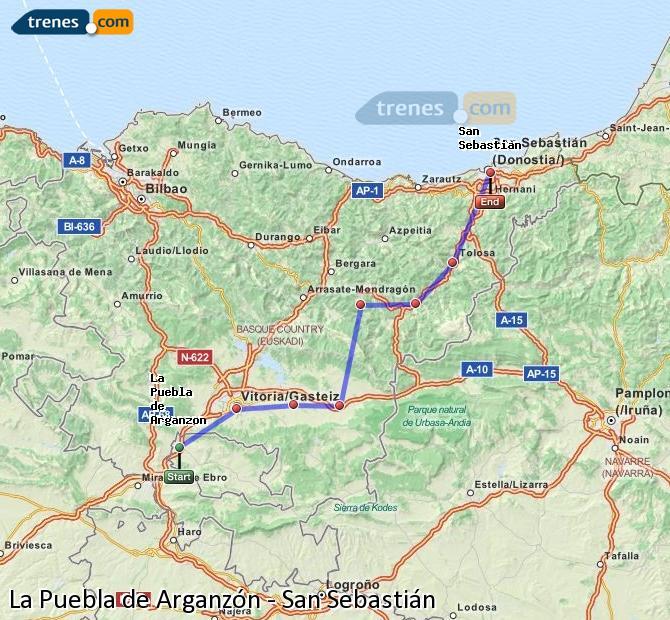 Agrandir la carte Trains La Puebla de Arganzón San Sebastián