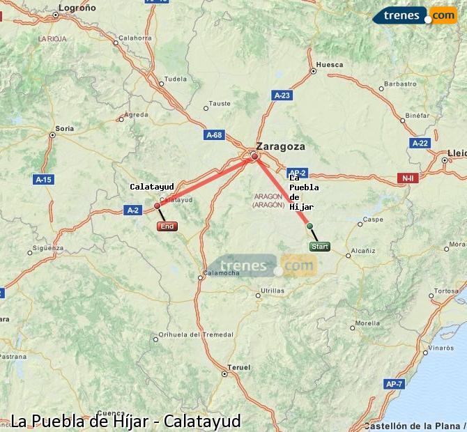 Agrandir la carte Trains La Puebla de Híjar Calatayud