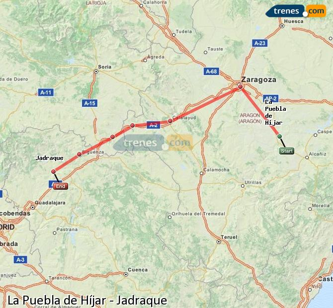 Enlarge map Trains La Puebla de Híjar to Jadraque