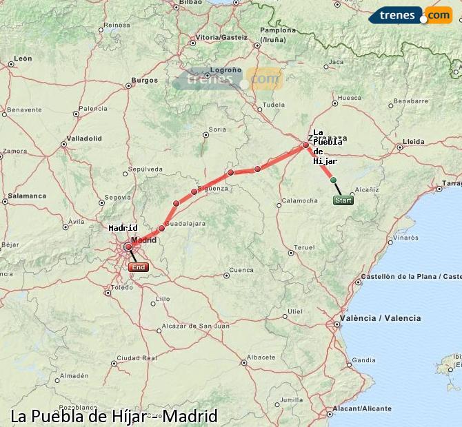 Agrandir la carte Trains La Puebla de Híjar Madrid