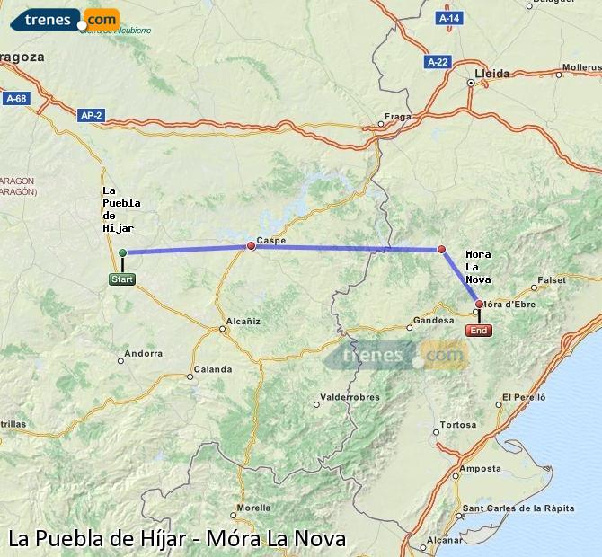 Ampliar mapa Trenes La Puebla de Híjar Móra La Nova