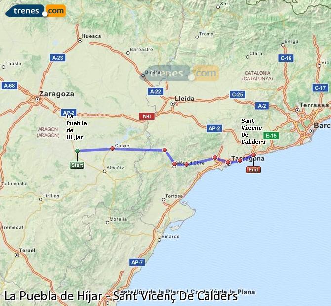 Ampliar mapa Trenes La Puebla de Híjar Sant Vicenç De Calders