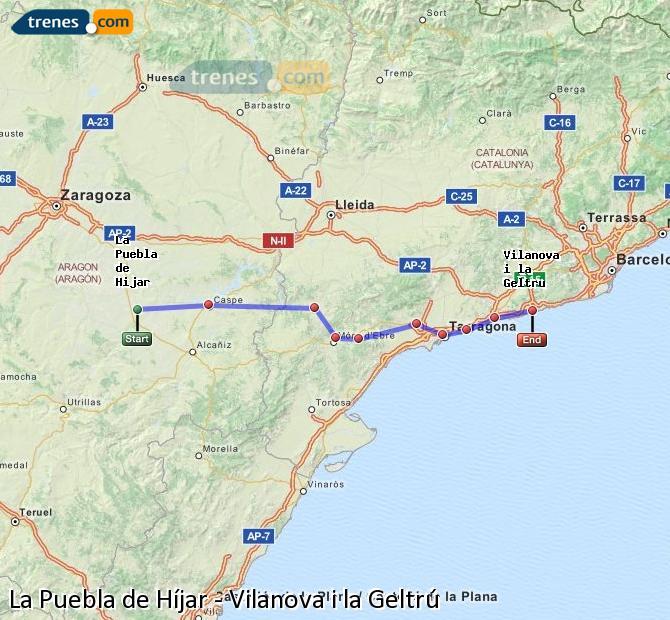 Enlarge map Trains La Puebla de Híjar to Vilanova i la Geltrú