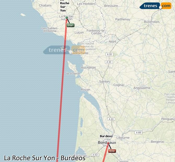 Agrandir la carte Trains Laroche Bordeaux