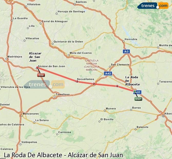 Enlarge map Trains La Roda De Albacete to Alcazar de San Juan