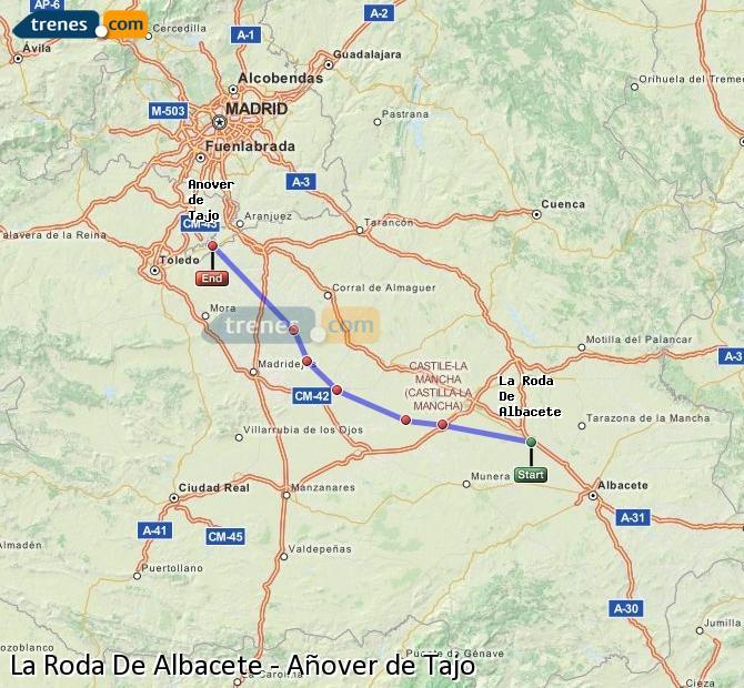 Ampliar mapa Trenes La Roda De Albacete Añover de Tajo