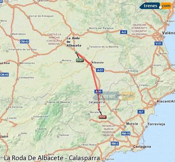 Enlarge map Trains La Roda De Albacete to Calasparra