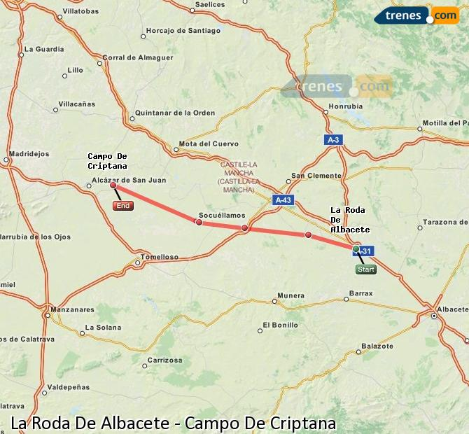 Enlarge map Trains La Roda De Albacete to Campo De Criptana