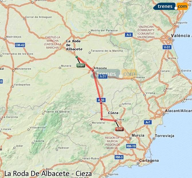 Ingrandisci la mappa Treni La Roda De Albacete Cieza
