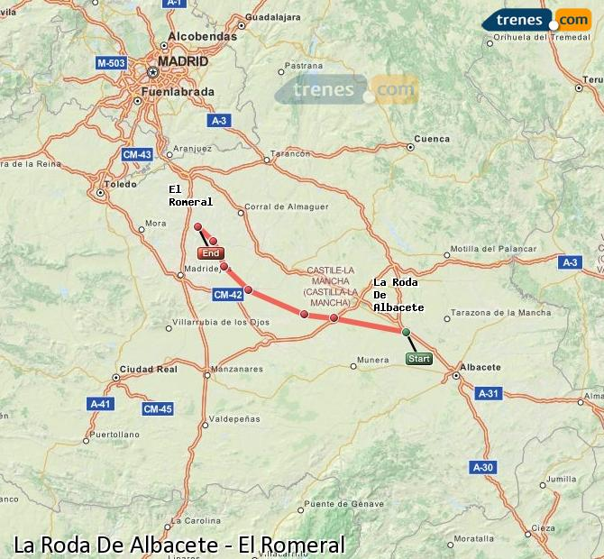 Enlarge map Trains La Roda De Albacete to El Romeral