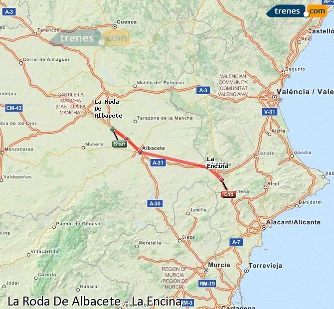 Ingrandisci la mappa Treni La Roda De Albacete La Encina