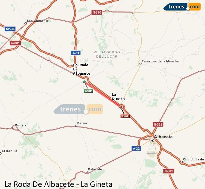 Karte vergrößern Züge La Roda De Albacete La Gineta