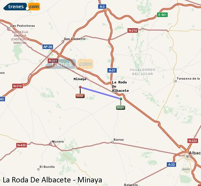 Karte vergrößern Züge La Roda De Albacete Minaya
