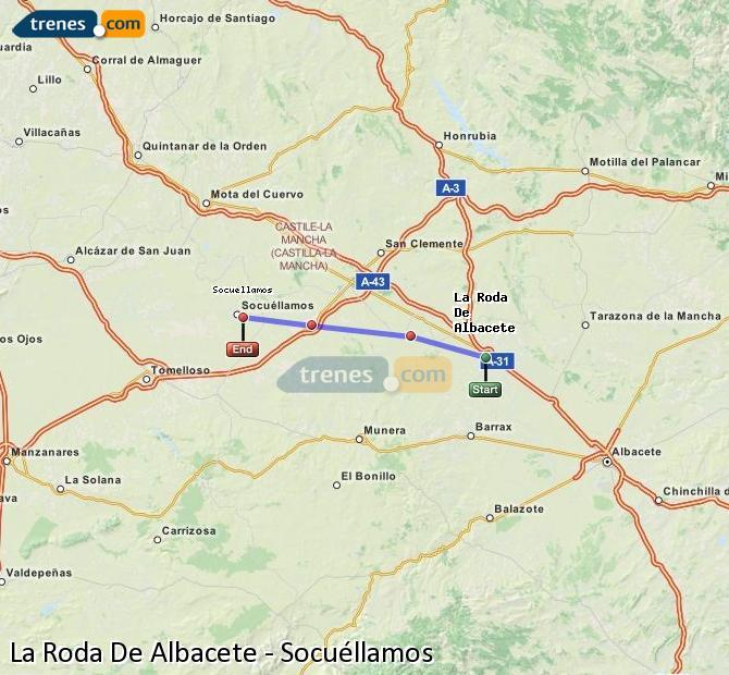 Ampliar mapa Trenes La Roda De Albacete Socuéllamos
