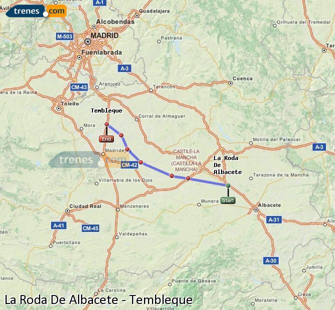 Enlarge map Trains La Roda De Albacete to Tembleque