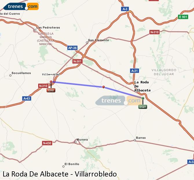 Enlarge map Trains La Roda De Albacete to Villarrobledo