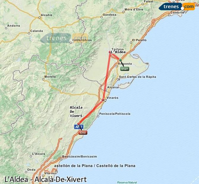Enlarge map Trains L'Aldea to Alcalà De Xivert