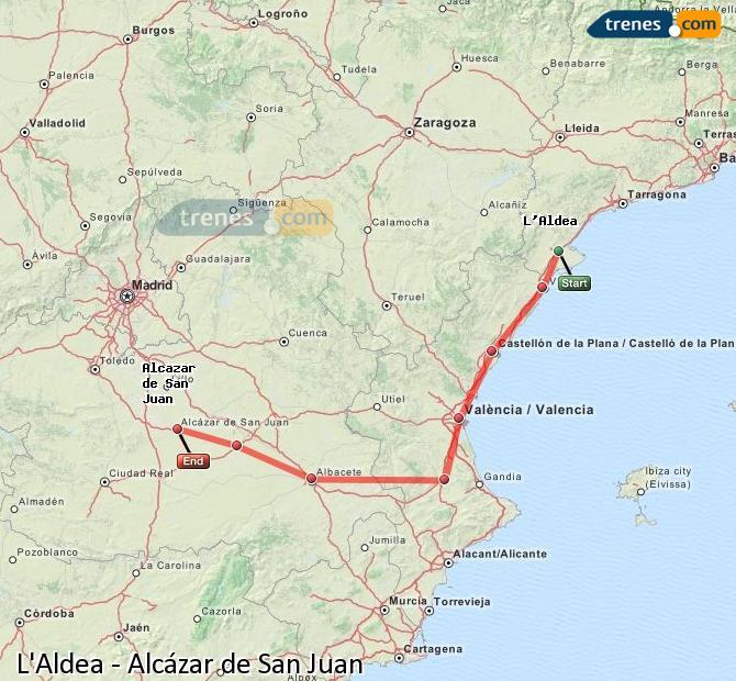 Ingrandisci la mappa Treni L'Aldea Alcázar de San Juan