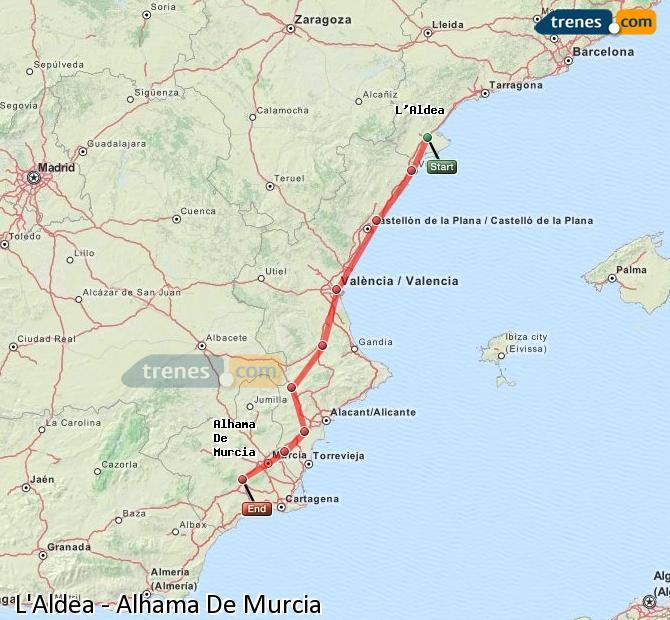 Karte vergrößern Züge L'Aldea Alhama De Murcia